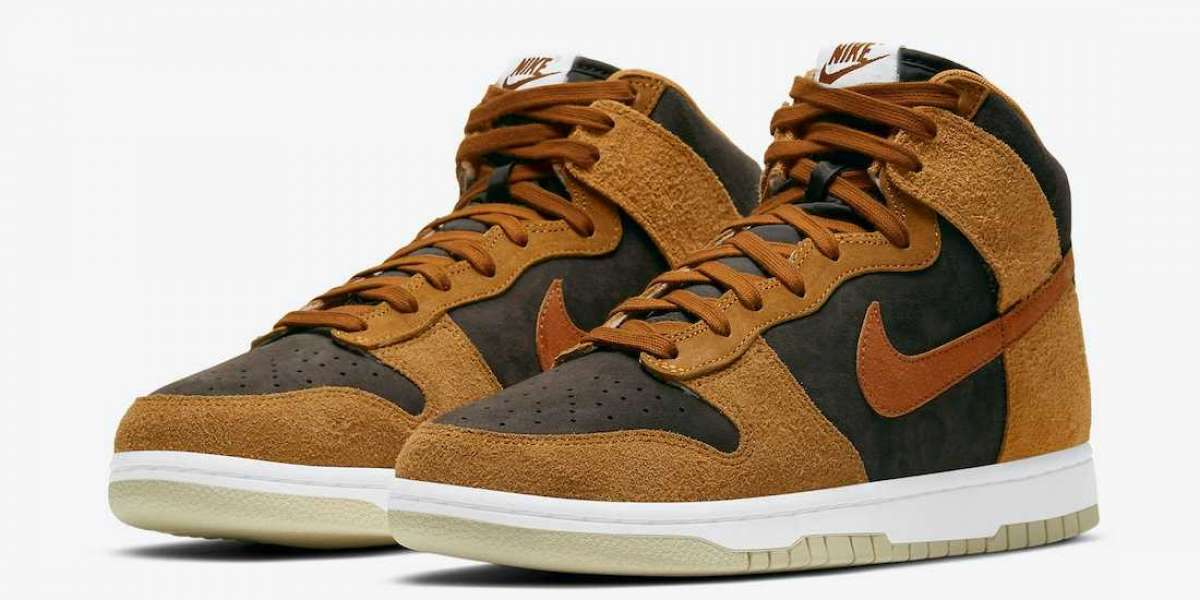 """Nike Dunk High PRM """"Dark Russet"""" DD1401-200 is a color suitable for winter"""